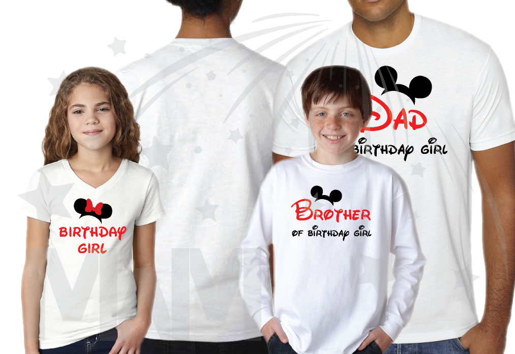 Matching Family Shirts For Birthday Party With Mickey Minnie Mouse Heads Mom Of Birthday Girl Boy Brother Of Birthday Girl Boy Etc Get As Many As You Want Married With Mickey