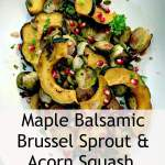 Maple Balsamic Brussels Sprout and Acorn Squash topped with pomegranate and pumpkin seeds on a white platter