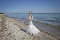 Brautkleid aus Satin, Tüll, mit Spitzen-Applikationen