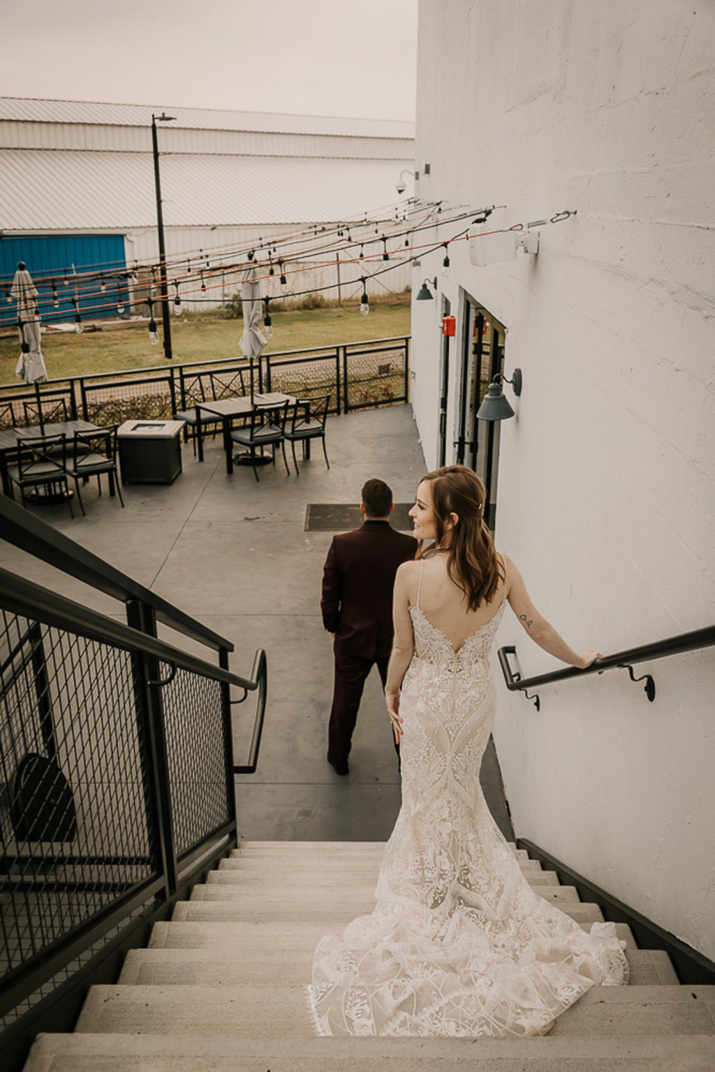 Bride and Groom First Look Photo | Lace and Embroidery Detailed Wedding Dress Fitted with Deep Cut Back | Chic Nostalgia
