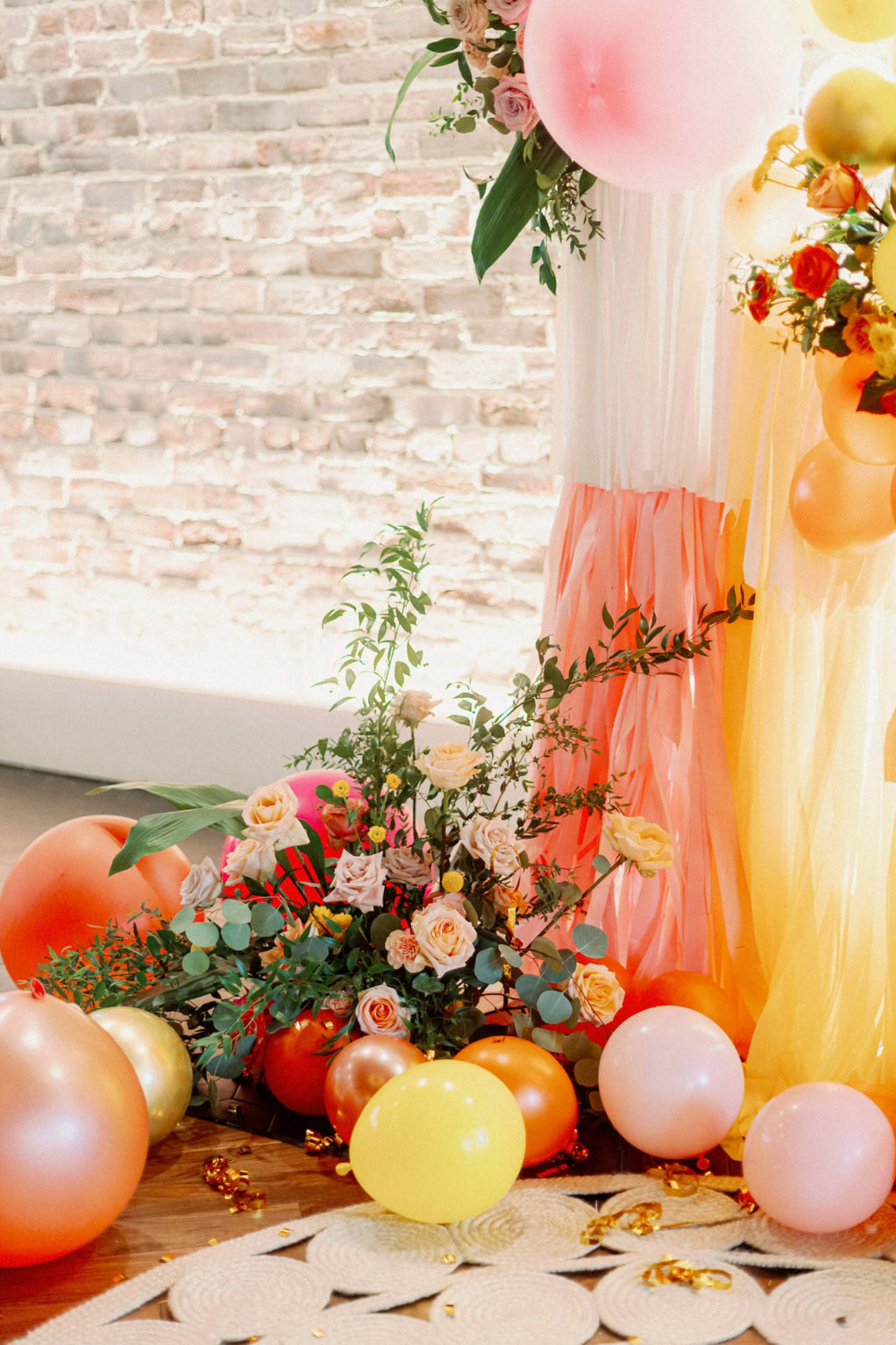 Whimsical and Colorful Wedding Decor, Pink, Orange, Yellow and White Fringe and Balloon Ceremony Backdrop   Tampa Bay Wedding Photographer Dewitt for Love