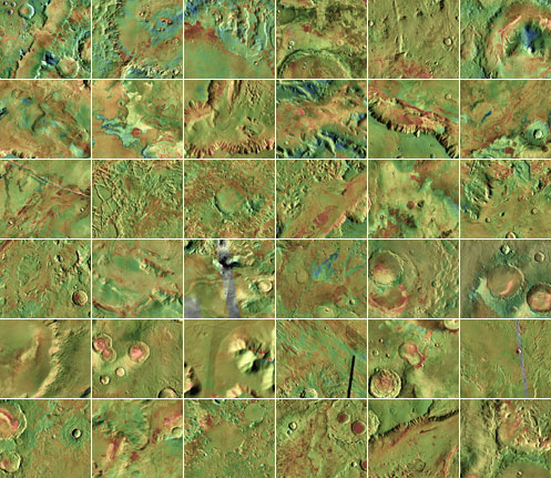 This mosaic shows 36 proposed landing sites for NASA's next Mars rover, in the Mars Science Laboratory mission.