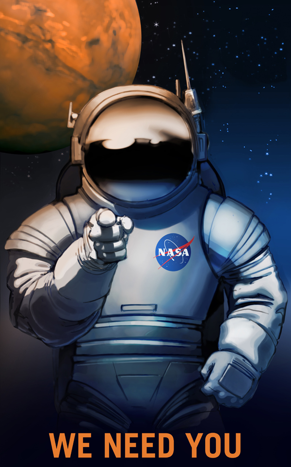 Artist's concept of an astronaut pointing to the viewer with Earth, the Moon, and Mars in the sky. It is a more peaceful version of the World War I and World War II posters of Uncle Sam pointing to recruits with the slogan 'I want you.'