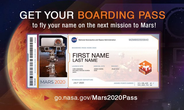 All Aboard for Mars 2020: Members of the public who want to send their name to Mars on NASA's next rover mission to the Red Planet (Mars 2020) can get a souvenir boarding pass and their names stenciled on chips to be affixed to the rover. Sign up at go.nasa.gov/Mars2020Pass. Image Credit: NASA/JPL-Caltech. Full image and caption ›
