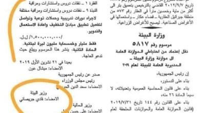 Photo of مليون دولار تنفيعة لوزير في عز الانتفاضة