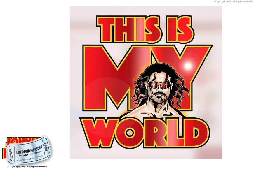 Image of Johnny Mundo logo, character and mascot design by Ian David Marsden