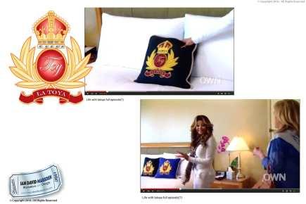 TOY La Toya Jackson Logo on pillow
