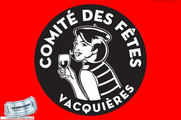 Comite des Fetes Logo Vacquieres Image of logo, character and mascot design by Ian David Marsden