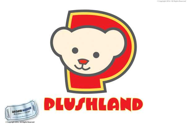 Plushland Logo Image of logo, character and mascot design by Ian David Marsden