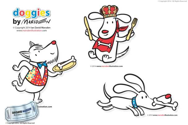Cartoon dogs for licensing Image of logo, character and mascot design by Ian David Marsden