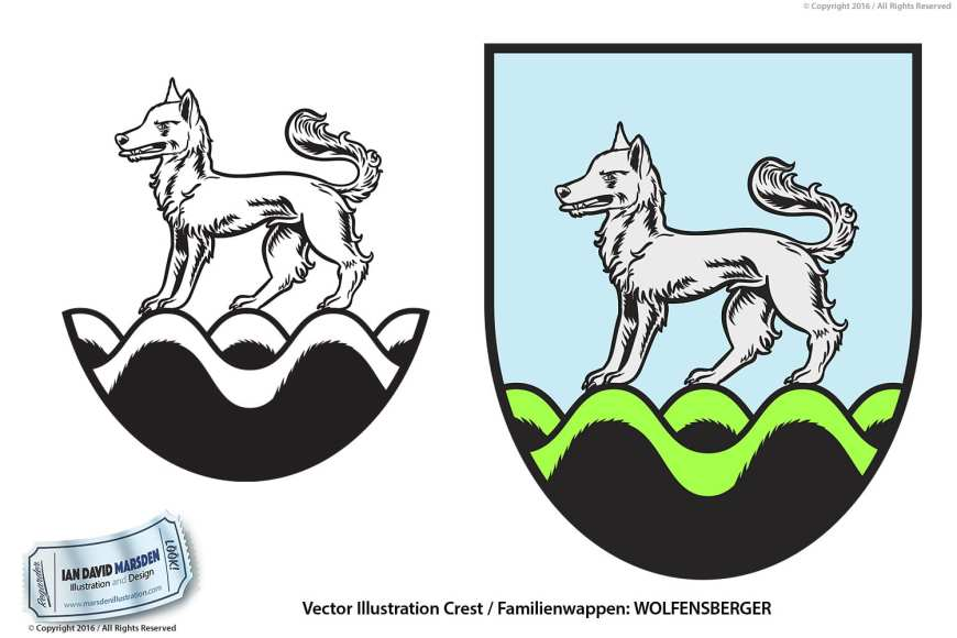 Wolfensberger Family Crest Image of logo, character and mascot design by Ian David Marsden