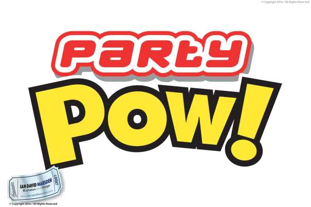 Party POW Logo Image of logo, character and mascot design by Ian David Marsden