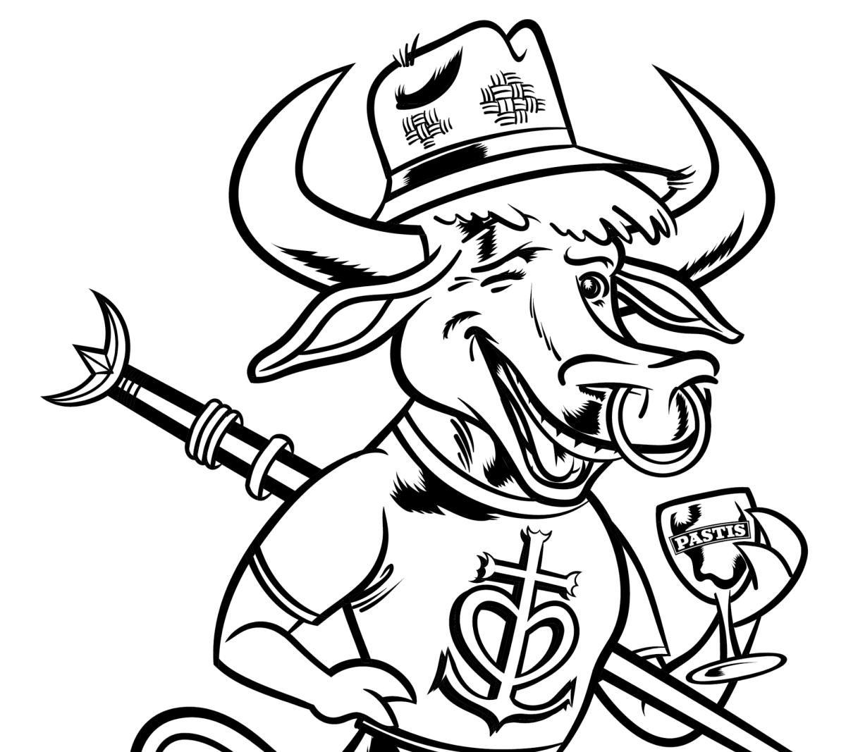Dessin Taureau avec chapeau de paille et pastis pour des comités des fetes ou fetes votives