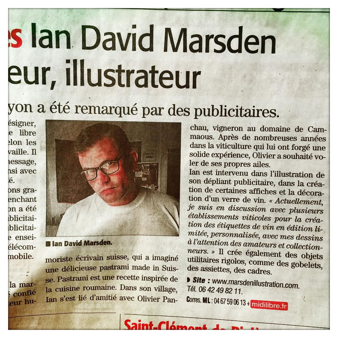 Article Midi Libre : Ian David Marsden illustrateur, dessinateur