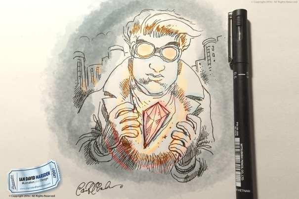 Pen and ink cartoon illustration by Ian David Marsden