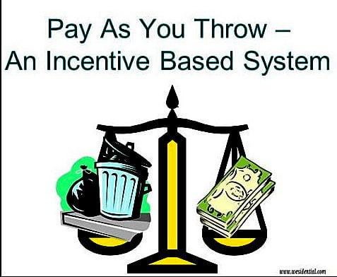 ilustração do sistema de lixo pay as you throw