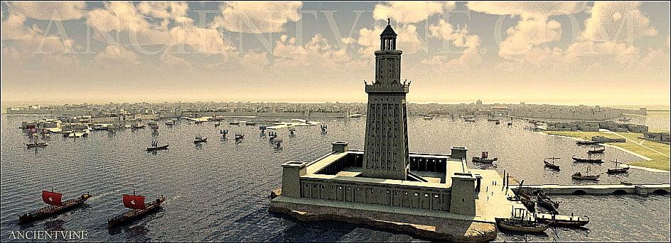 ilustração, o farol de Alexandria