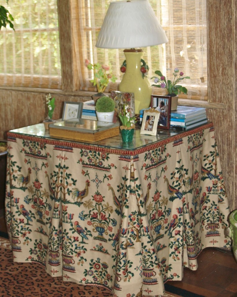 table, table skirt, accessories