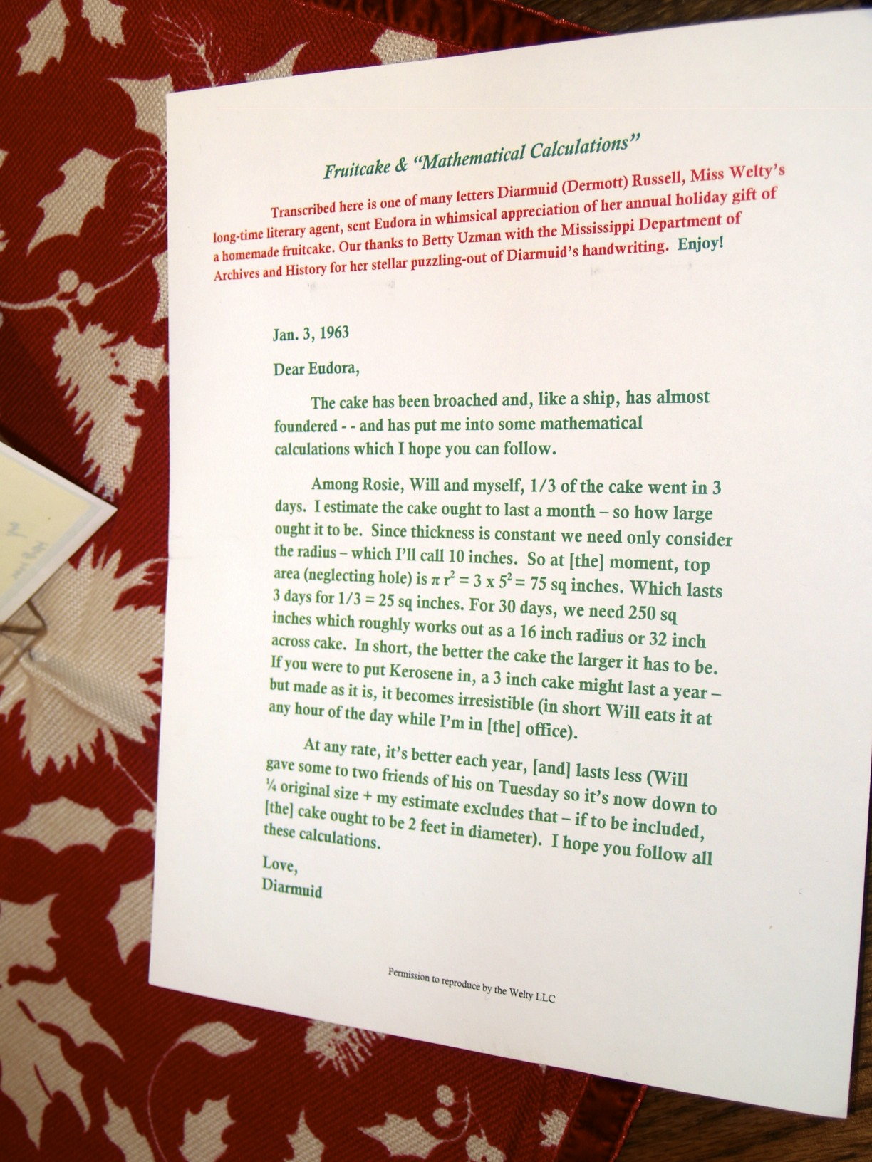 Diarmuid Russell letter