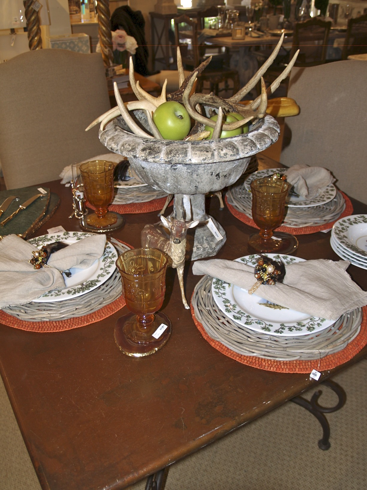 tablescape, antlers