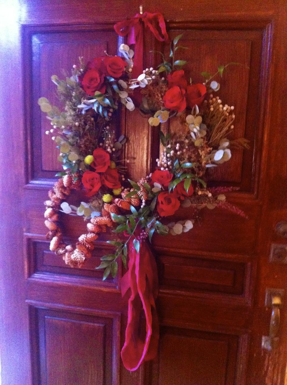 front door with Valentine wreath