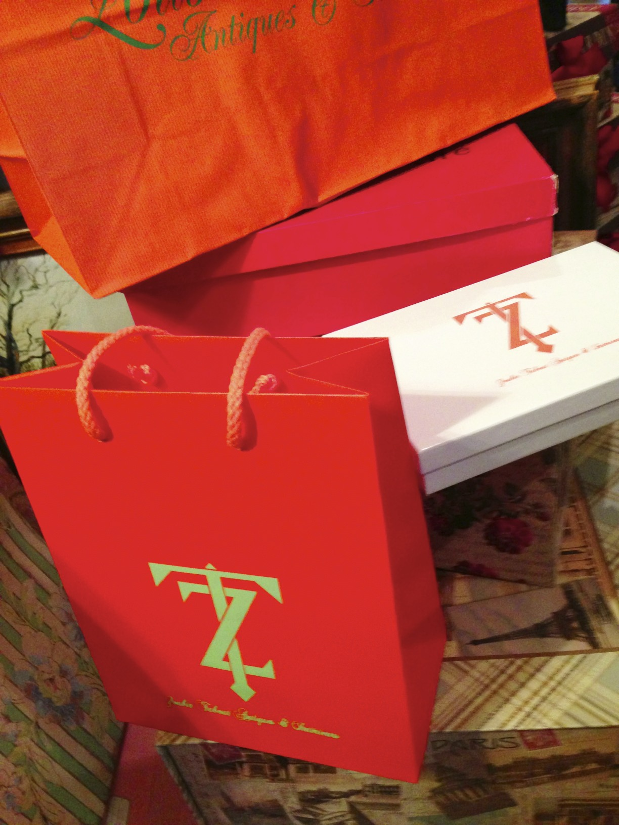 orange boxes and bags