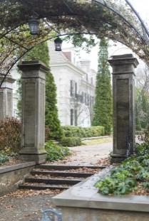 Stone pillars in garden