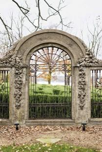 Concrete arch in garden