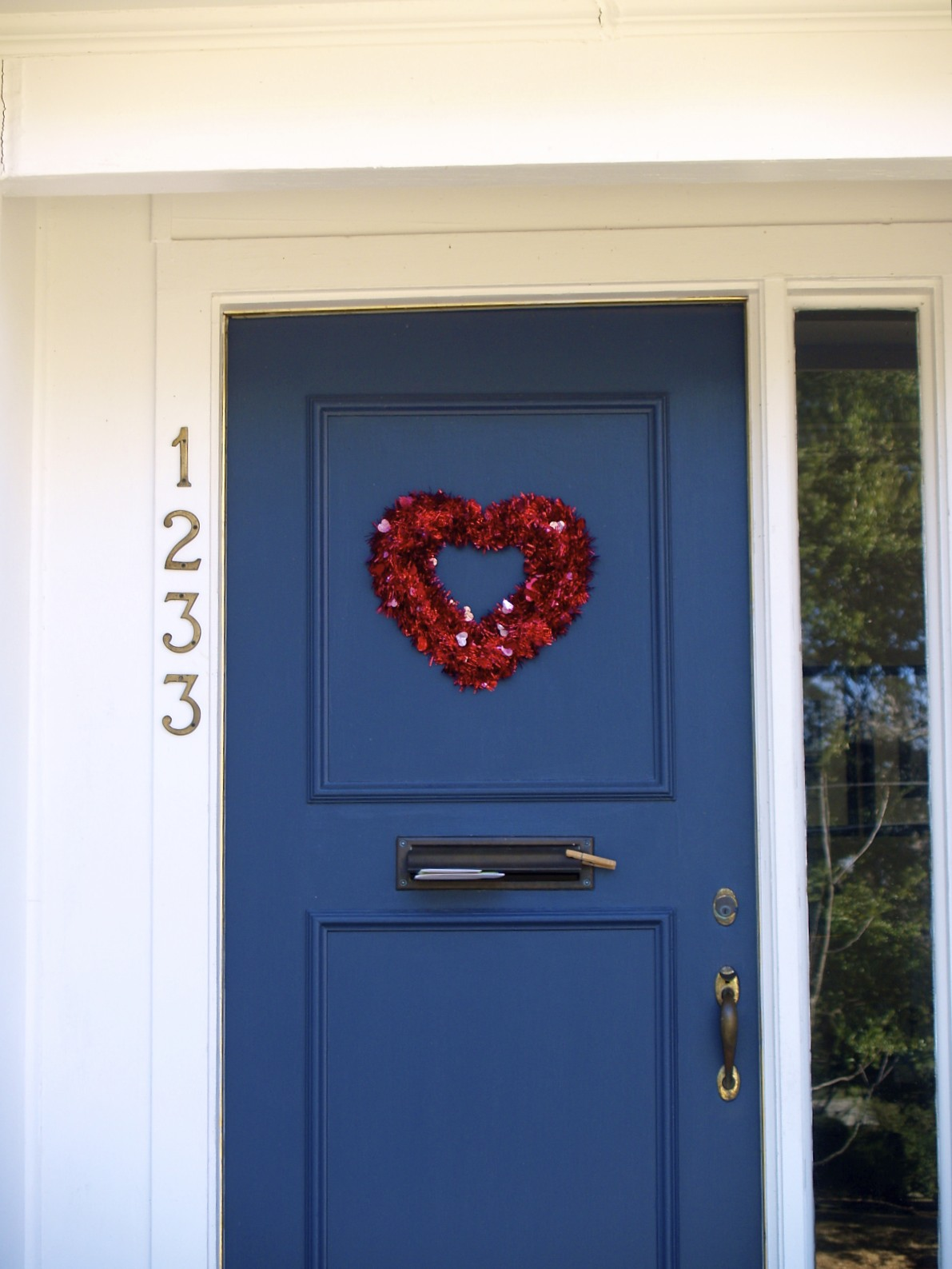 Valentine wreath on blue door
