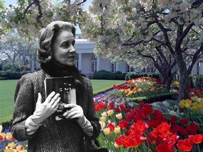 Bunny Mellon in Rose Garden