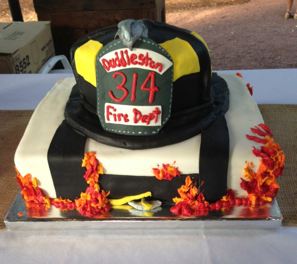 grooms cake fire hat