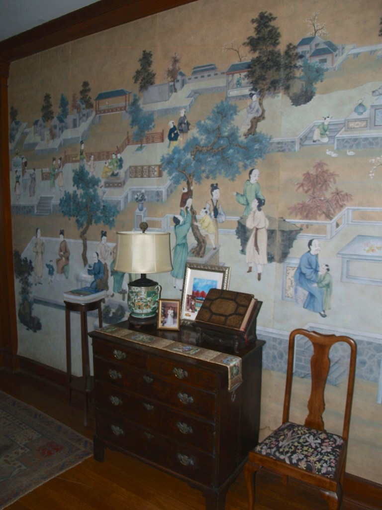 wallpaper in entrance hall at Buford Hall