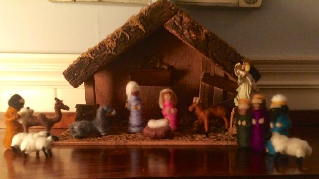 needle felted manger scene