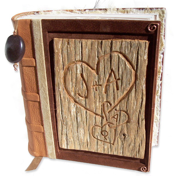 carved tree bark scrapbook