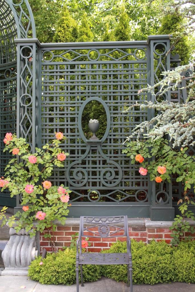 latticework in the garden at Bellevue House
