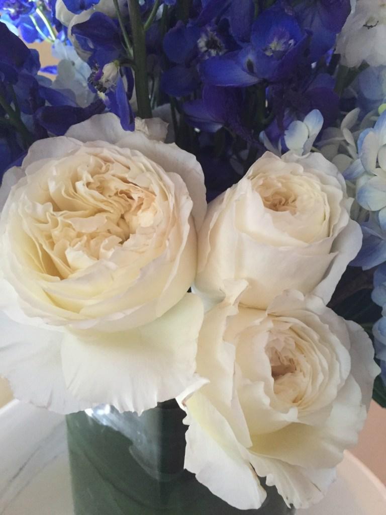 blue and white flower arrangement