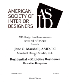 ASID Design Excellence Award 2013, Wailuku Bungalow Restoration