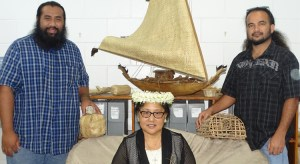 Marshallese Studies Department outgoing chair Wilbert Alik and incoming chair Hermon Lajar along with adjunct and CMI Nuclear Institute Director Mary Silk. Photo: Kelly Lorennij.