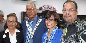 President Hilda Heine and First Gentleman Tommy Kijiner, Jr. (right) joined in the ceremony for new Cabinet Minister Dennis Momotaro, who is pictured with his wife, Daisy Alik-Momotaro, a senator for Jaluit in Nitijela. Photo: RMI President's Office.