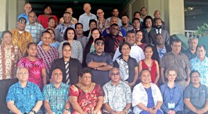 Participants in the International Monetary Fund-supported fisheries finance management workshop this week in Majuro took time out for a group photo on the steps of the Marshall Islands Resort. Photo: Rebecca Lathrop.