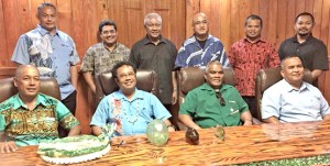On a visit to Palau earlier this month, Ministers Dennis Momotaro (left) and David Paul (right), and Kwajalein Mayor Hirata Kabua, joined with Palau President Tommy Remengesau, Jr. (second left sitting), Palau elected and conservation leaders, and Micronesian Conservation Trust Director Willy Kotska (left standing). Also in the RMI delegation was Office of Environmental Planning and Policy Coordination Director Clarence Samuel (third from right standing). The visit was set up so the leaders from RMI could see how Palau has established its Protected Areas Network system to help the RMI move forward in the same area.