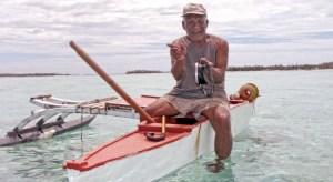 Tempo Alfred on his outrigger canoe in Ailuk Atoll in 2014. Photo: Seiichiro Takemine.