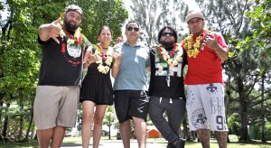 Daniel Kramer, center, has pulled together an amazing group of musicians who will showcase their talents at this Saturday's Spring Break Beach Bash at Laura Beach. Both local and off-island stars will play, including this group that arrived Monday. From left: Tunez Moananu, Eli Mac, Kramer, Sherwin Milne deBrum and Kaipo Kapua. Photo: Hilary Hosia.