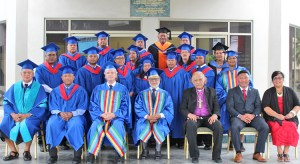 The 12 nurse practitioner graduates with Fiji National University and RMI government officials following their graduation in Majuro last Saturday at the International Conference Center.