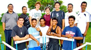 Chris Zablocki (third from left standing) with Majuro and Jaluit runners and track officials in this 2010 file photo. Photo: Giff Johnson.