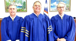 The RMI Supreme Court panel in Majuro, from left: Judge Michael Seabright, Chief Justice Daniel Cadra, and Judge Richard Seeborg. Photo: Hilary Hosia.