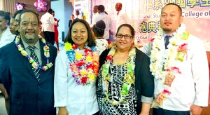At the white coat ceremony at I-Shou School of Medicine in Taiwan, from left: Foreign Secretary Bruce Kijiner, Jean Phillip-Lingayon, RMI Embassy in Taiwan Charge Anjanette Kattil, and Jerel Anitok.