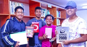 Upward Bound high school students enjoyed their tour of the new library and computer center at CMI's Arrak Campus in Majuro. Photo: Kelly Lorennij.