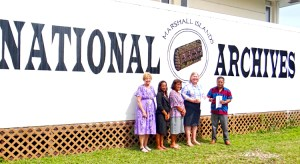 The US donation was made at the Alele Museum and National Archives, from left: Alele Manager Carol Curtis, Alele board members Mabel Peter and Rebecca Lorennij, US Ambassador Karen Stewart, and Alele Director Melvin Majmeto. Photo: Hilary Hosia.