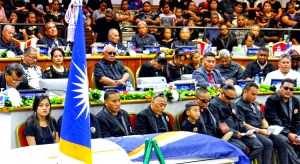The late Vice Speaker Tomaki Juda was honored with a state funeral at Nitijela Monday this week. Photo: Hilary Hosia.